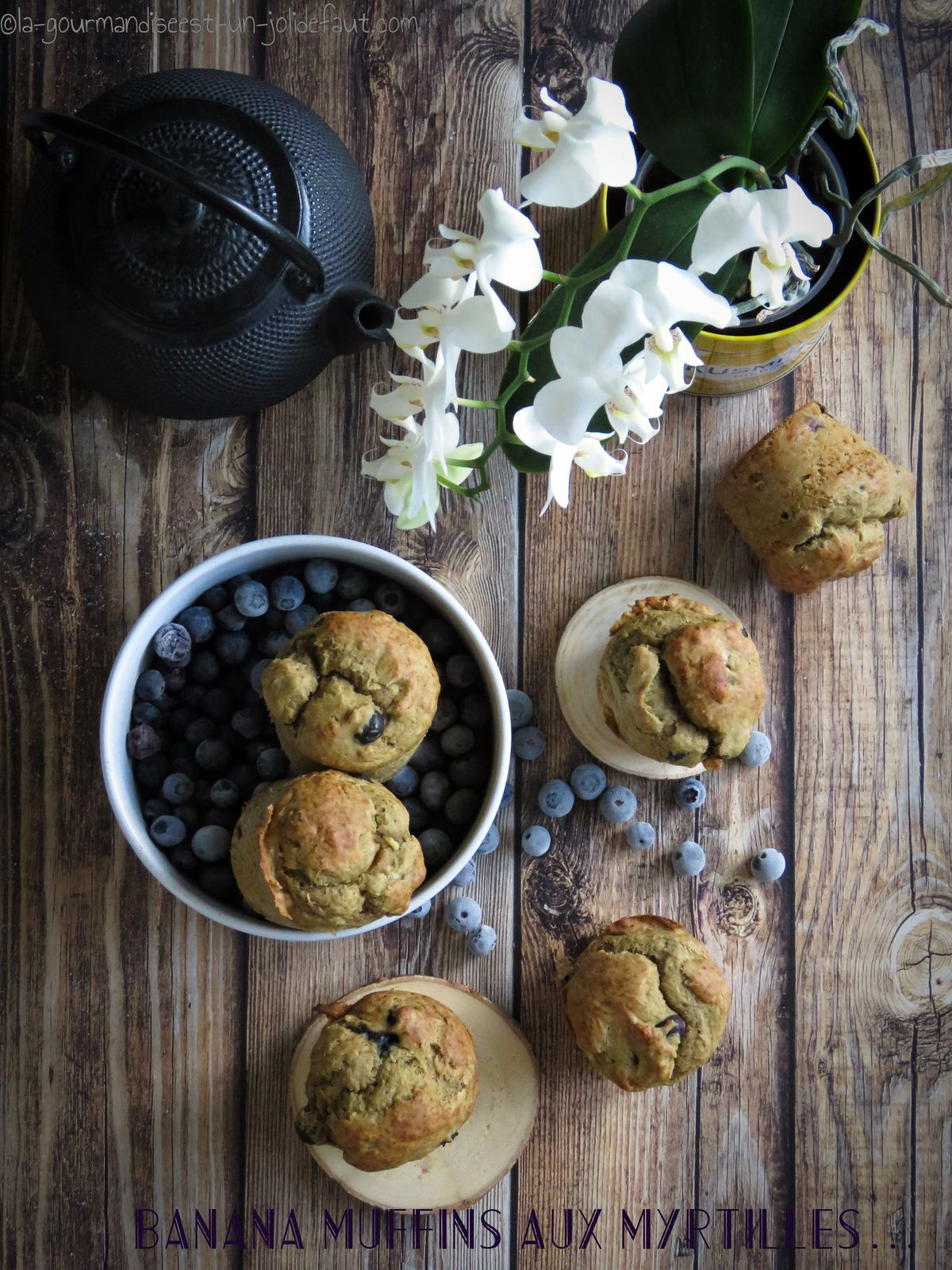 Banana muffins aux myrtilles
