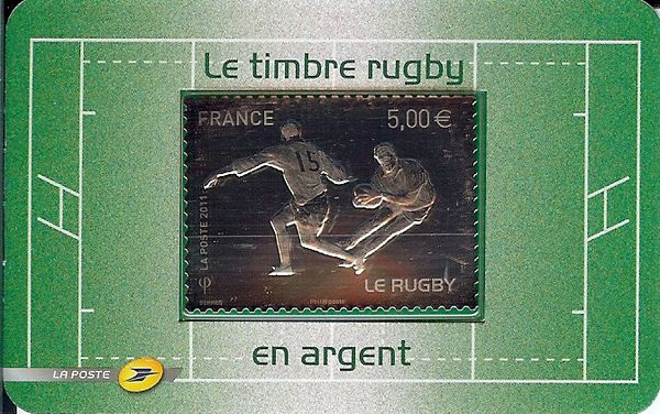 timbre rugby en argent