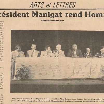 Hommage à Jean Fouchard à l'Institut Français d'Haïti le 27 mai 1988. Cliquer sur le lien pour l'interview consacré à l'événement par la radio nationale d'Haïti.