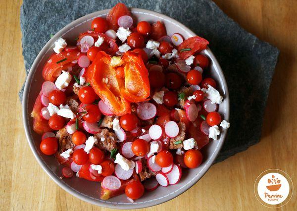 Panzanella ou salade de pain à ma façon et poivron soufflé