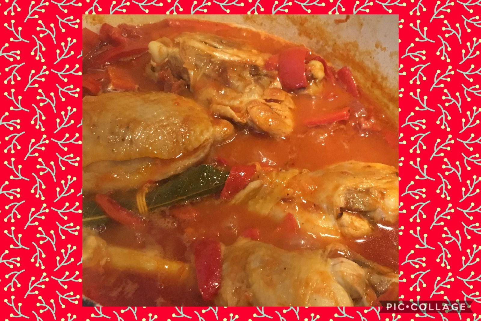 Poulet  aux poivrons, tomates