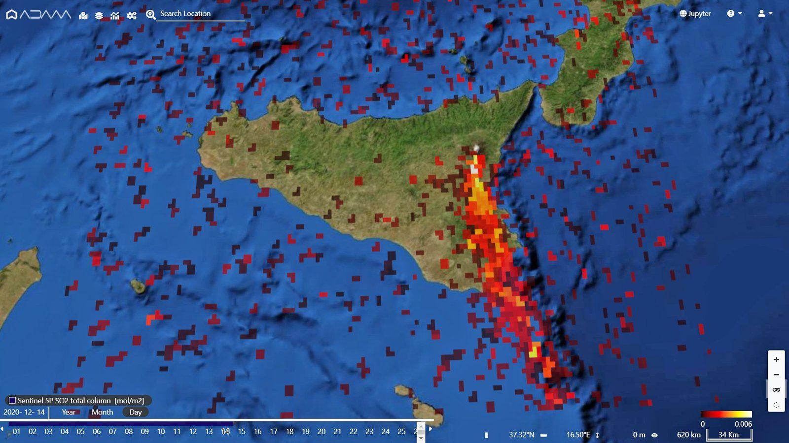 Etna - panache de dioxyde de soufre  -image  Sentinel-5P 14.12.2020