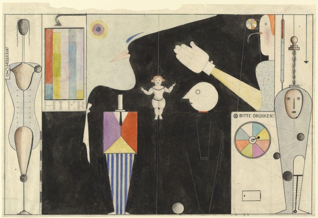 """Il y a près d'un siècle, un artiste enseignant au Bauhaus a tenté de réinventer la danse. Même aujourd'hui, son """"ballet triadique"""" est présenté dans les théâtres du monde entier. Nous parlons bien sûr d'Oskar Schlemmer ...Oskar Schlemmer - The Figural Cabinet (Das figurale Kabinett) (1922)."""