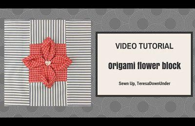 Origami flower quilt block tutorial: un tutoriel pour une fleur en origami pour un patchwork...