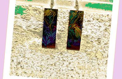 Boucles d'oreilles percées tropicales rectangle coloré, forêt tropicale en impression, bijou d'art