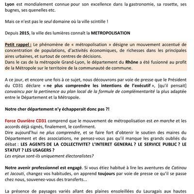 """Dpt 31, métropolisation : le """"modèle Lyonnais arriverait à Toulouse !?"""