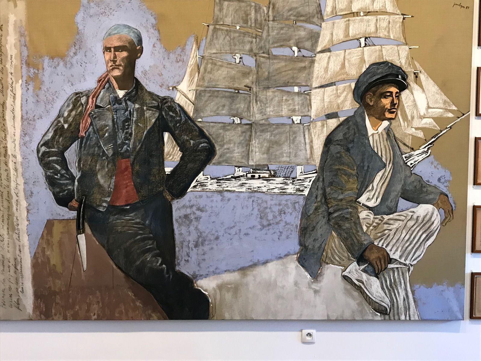 Le Tableau (avec grand voilier blanc) – (1989) – Technique mixte sur toile – Jean Le Gac