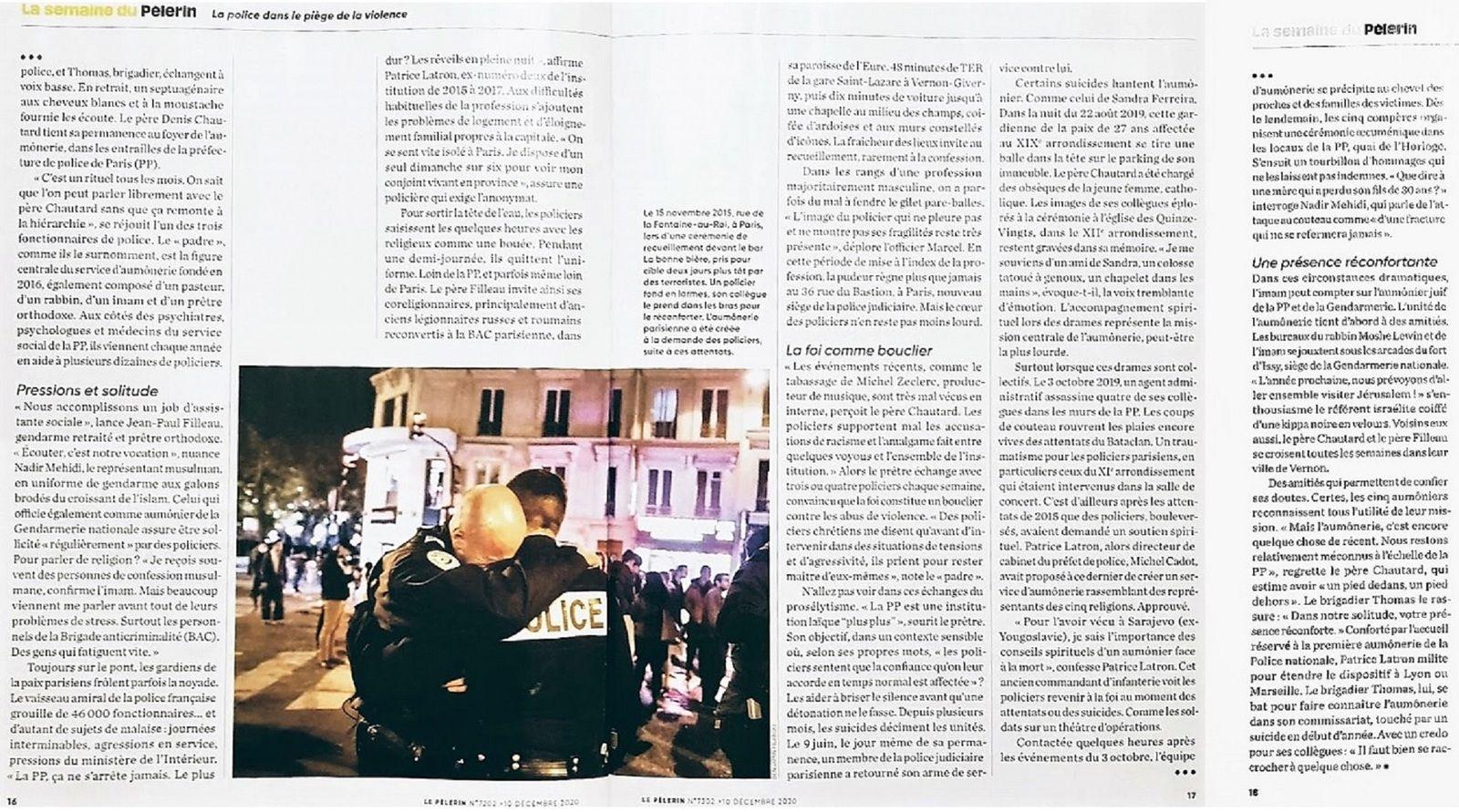 « La Police dans le piège de la violence » Le Pèlerin du 10 décembre 2020