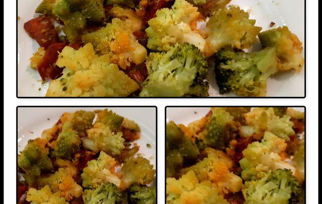 Poêlée de chou romanesco et brocolis au chorizo