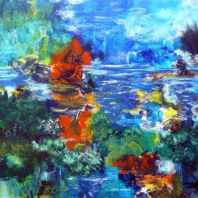 Secret de Loire : Les îles incandescentes.(acrylique sur toile 81 / 65 cm)