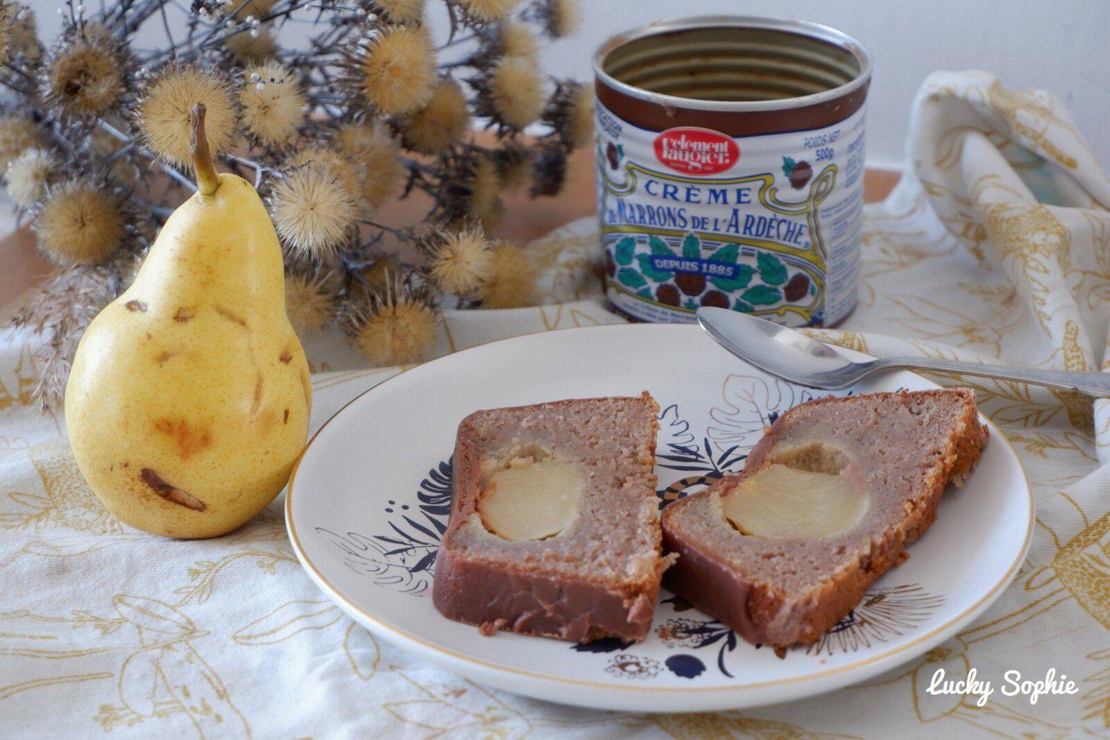 Fondant poire, crème de marrons et chocolat