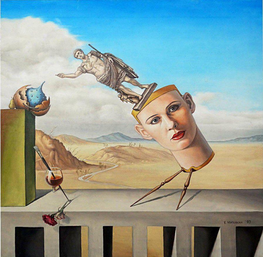 Peinture surréaliste de tête stylisée - K. Mitovski