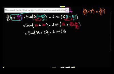 TERMINALE S - Exemple : montrer qu'une fonction est périodique de période T