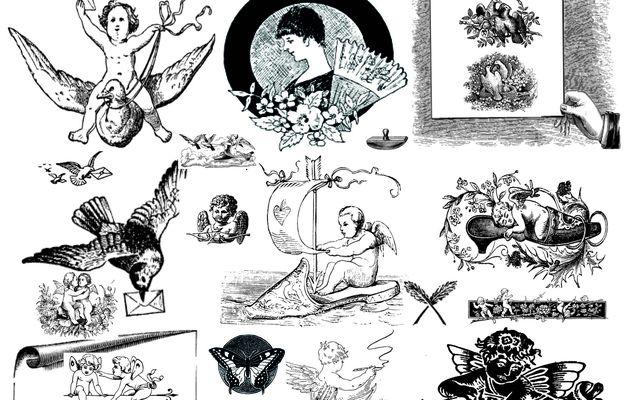 Valentine's Day vintage Letter for you  Instant download - 25 clip arts for digital scrapbooking Angels, Cherubs, birds...