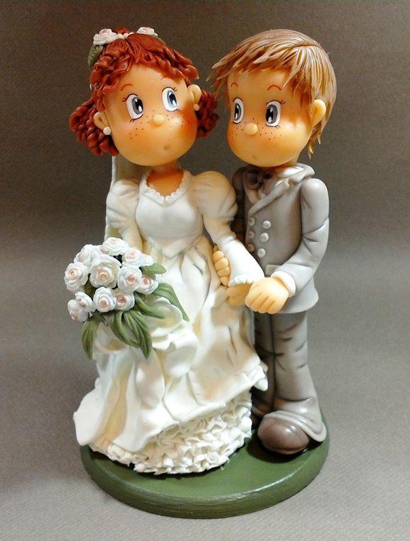 Couple de Marié en porcelaine froide