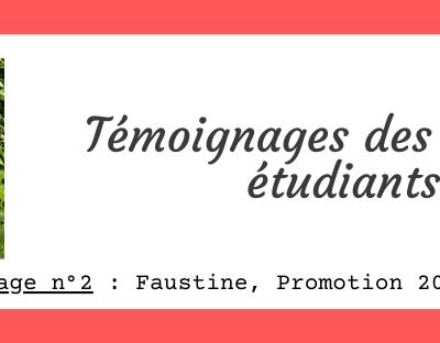Témoignage de Faustine, promotion 2018-2019