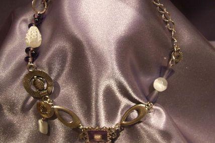 Collier émail violet et argent réf : C16