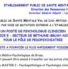 Poste à pourvoir : Psychologue