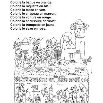 atelier lecture: Je lis je colorie je dessine CP ou début CE1, le potager