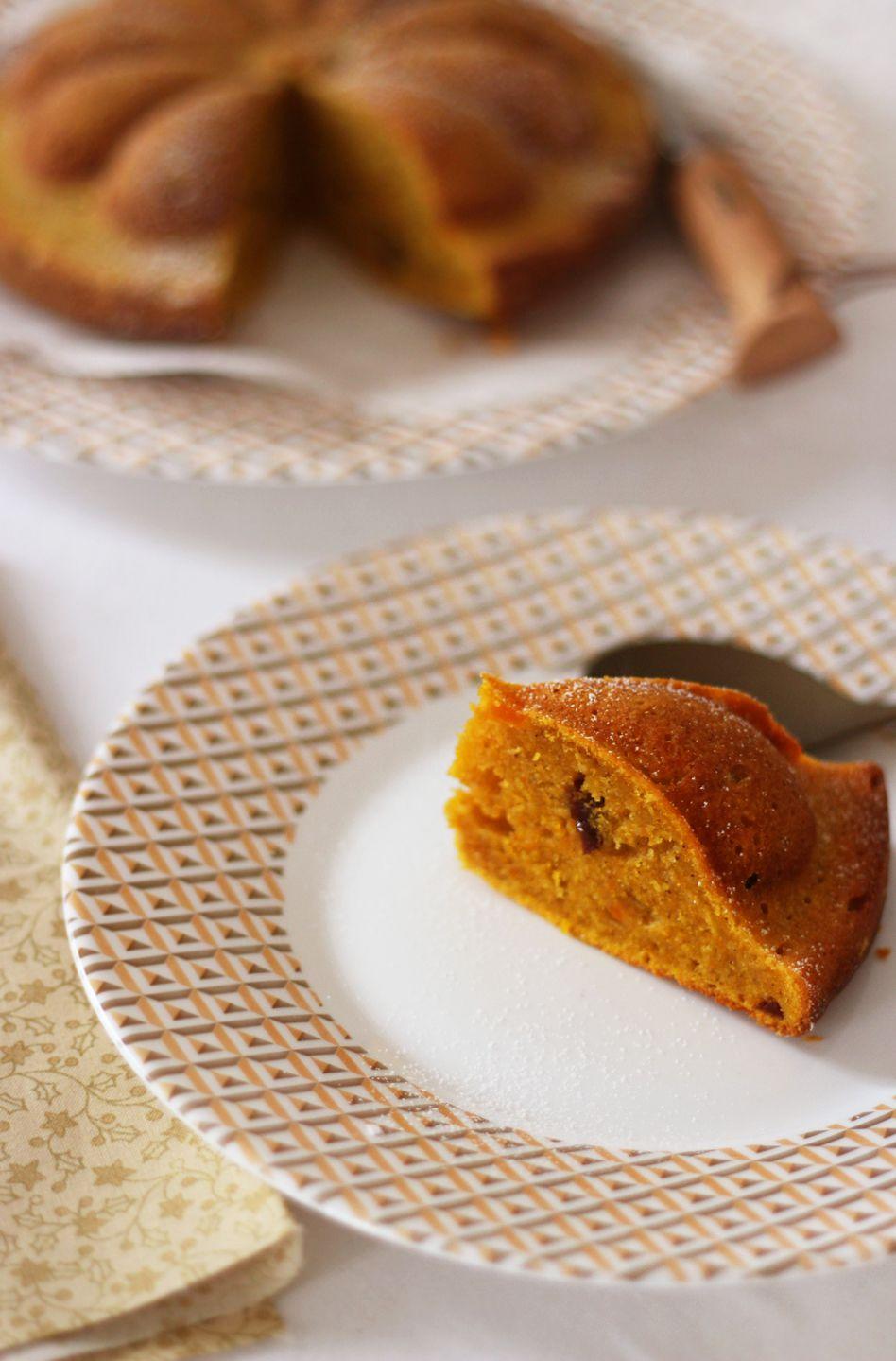 Cake de l'automne à la citrouille, châtaigne et raisin sec