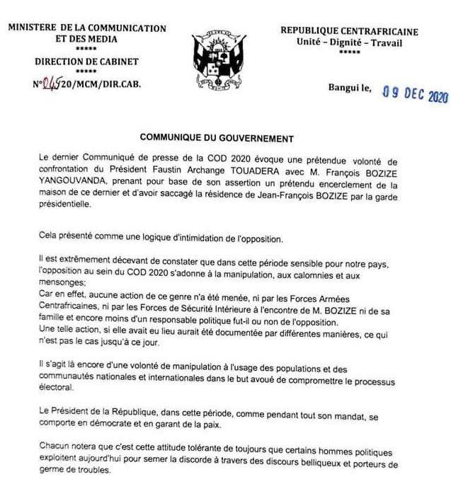 RCA : Communiqué gouvernemental en réaction à celui de la COD-2020