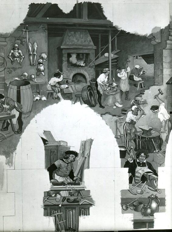 La toile marouflée, avant la pose de l'encadrement des portes (source : Musée des Beaux-Arts d'Arras).