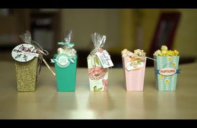 video tuto gratuit STAMPIN UP  Boite à Pop-Corn /Popcorn Box Thinlits Dies