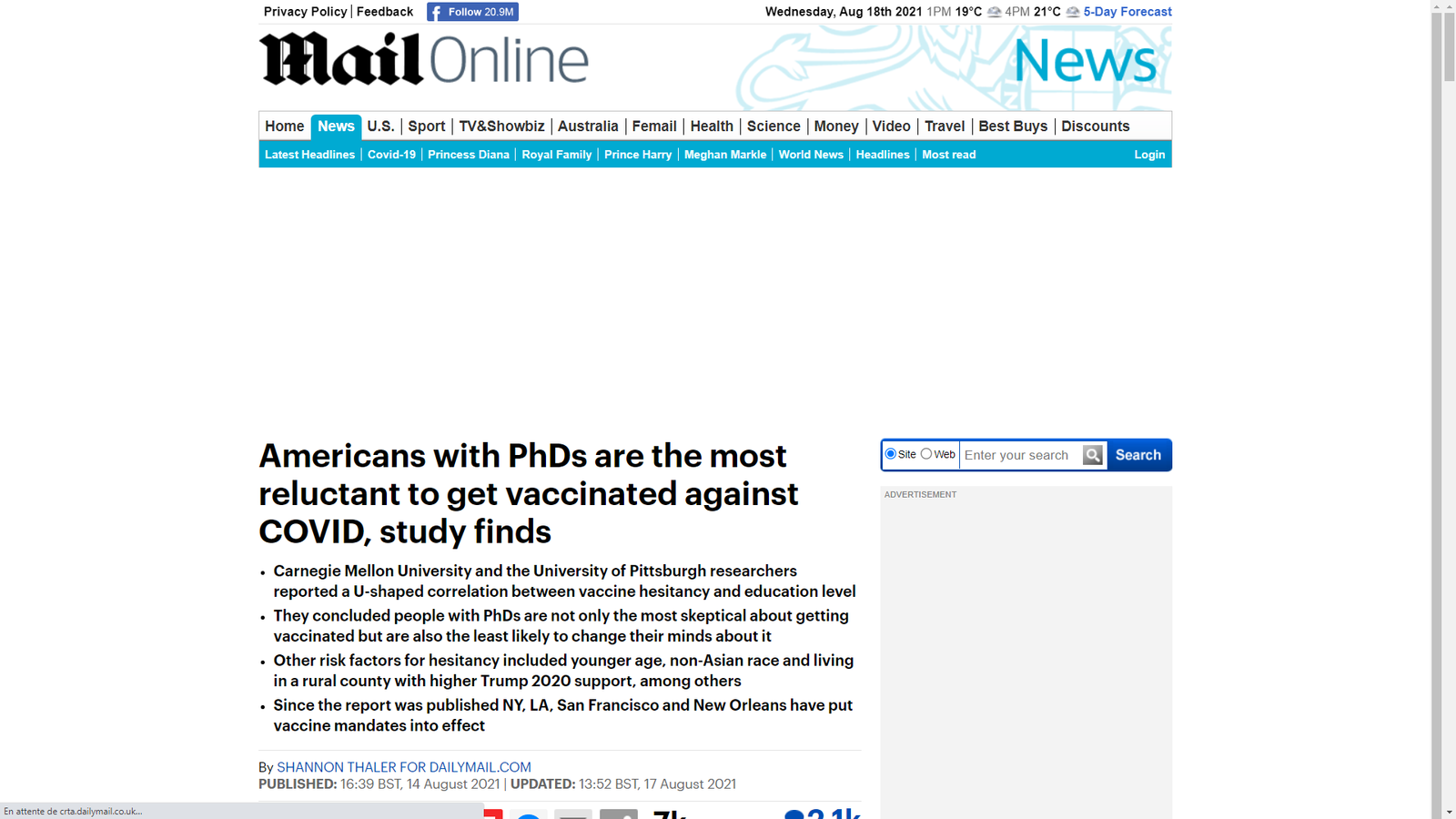 Source : https://www.dailymail.co.uk/news/article-9893465/Americans-PhDs-reluctant-vaccinated-against-COVID-study-finds.html