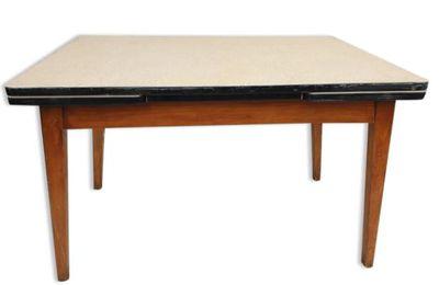 Table extensible vinyle beige moucheté piétement compas bois - 70 euros