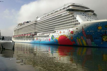 The NCL Breakaway, largest cruise ship ever to port in NYC