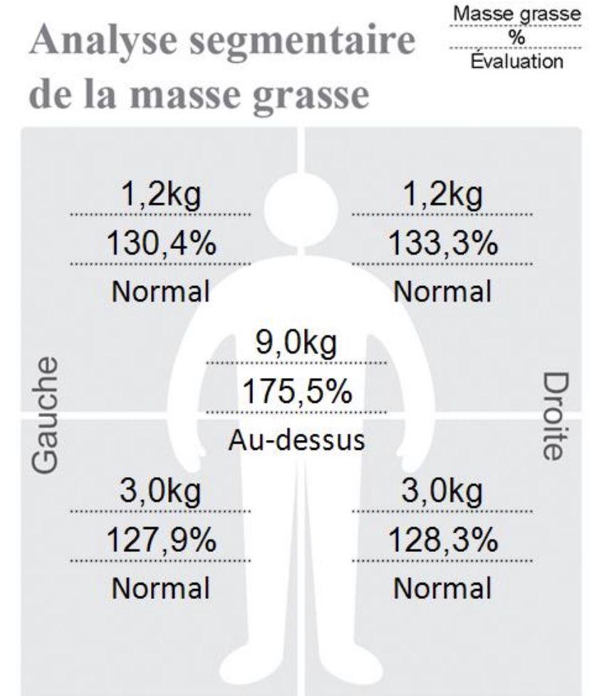Les chiffres parlent d'eux même. J'avais 175 % de masse grasse au dessus de la normal au niveau de la ceinture abdominale. Rien que ça !