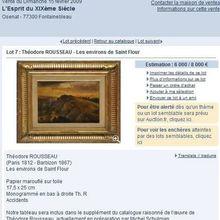 Enchère: Vue de Saint-Flour par Théodore Rousseau