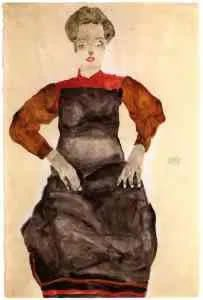Painting by Egon Schiele. 'Model das Gesicht verbergend (Woman hiding her face)', 1912. Courtesy Collection Grünbaum. - Egon Schiele, 'Woman in black Pinafore', 1912. Courtesy Collection Grünbaum.
