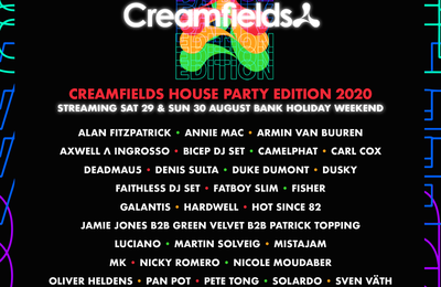Tiësto date | Creamfields House Party | Virtual Festival - august 29/30, 2020
