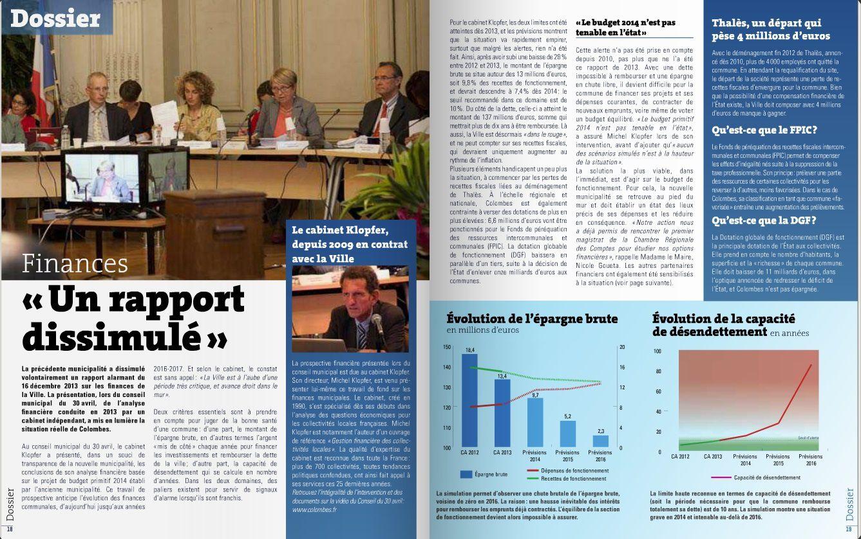 JOURNAL DE COLOMBES - INTOX SUR LE RAPPORT KLOPFER