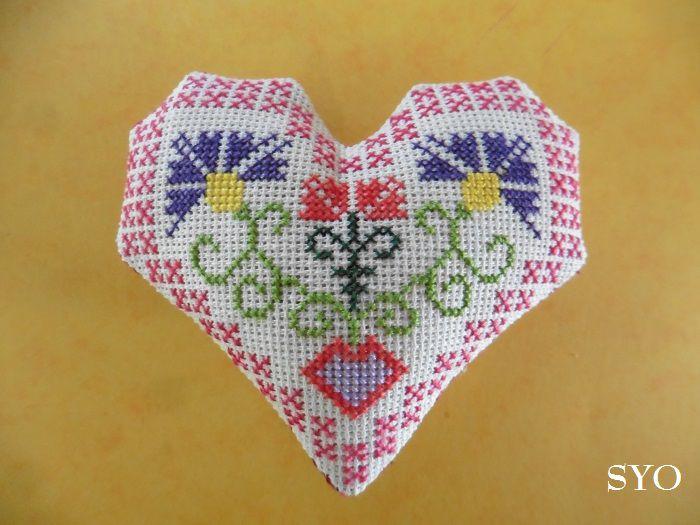 Cœur Valentin, le Bleuet , Motif Traditionnel   : Face A