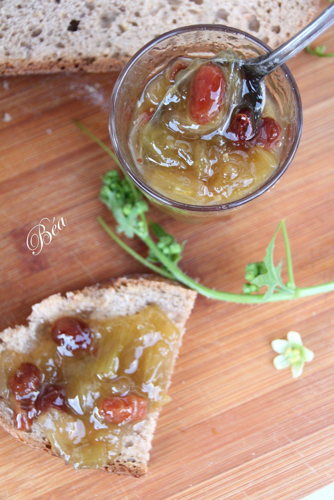 Confiture Rhubarbe, raisins secs et vanille