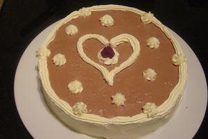 Gâteau mousse chocolat & ses framboises