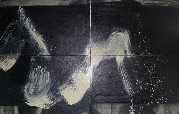 """""""Sentiment 1"""" acrylique et encre de chine sur toile, 130 cm x 80 cm"""
