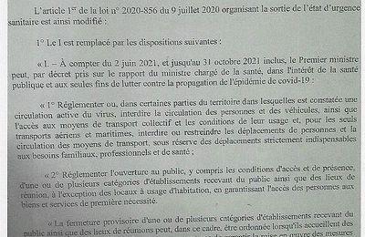 #FRANCE ; projet de loi relatif à la gestion de sortie de crise sanitaire