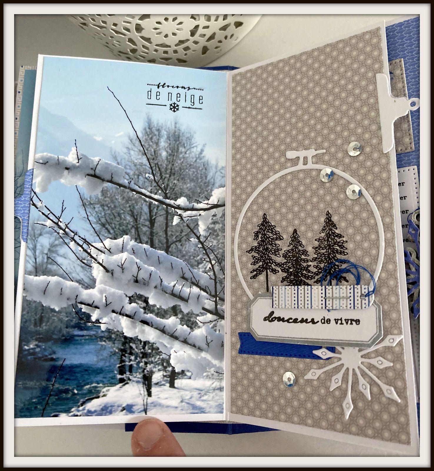Ce premier livret reprend la même mise en page : une photo et une déco. celles-ci sont réalisées avec des motifs tamponnés et des dies.
