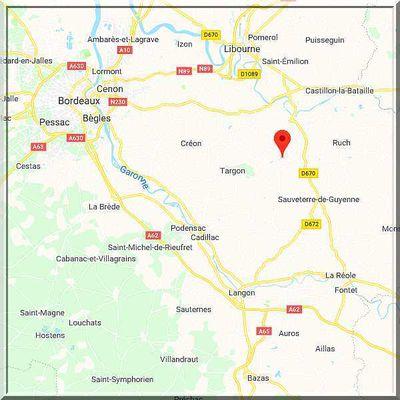 Gironde - Lugasson - Position église sur carte
