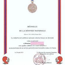 NOUVEAU DIPLÔME DE LA MÉDAILLE DE LA DÉFENSE NATIONALE SUITE À LA DÉCISION DU 20 SEPTEMBRE 2021 MODIFIANT LA DÉCISION DU 05 JUILLET 2021 PORTANT ATTRIBUTION DE LA MÉDAILLE DE LA DÉFENSE NATIONALE À TITRE EXCEPTIONNEL.
