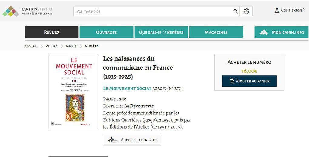 """LE MOUVEMENT SOCIAL N° 272 / 2020 """"Les naissances du communisme en France 1915-1925"""""""