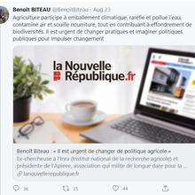 Dans la série «les petits et moins petits arrangements avec la réalité des faits» à EÉLV: M.Benoît Biteau