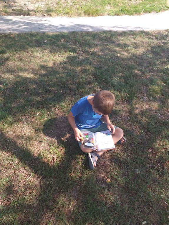 """Cette année, nous essayons une nouvelle activité. Un temps calme intitulé """"Chut, je lis"""". Tous les jours, nous prendrons 15 minutes pour lire dans le calme , en classe ou dehors si le temps le permets. Les Ce1 prennent plaisir à se poser avec un livre et les CP sont déjà heureux de chercher des mots outils appris en classe!"""