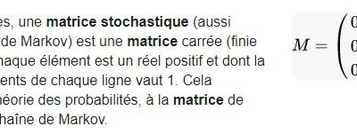 POST BAC - Une matrice stochastique - Matrice de Markov