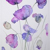 ART Watercolor painting of PURPLE POPPIES by artist Amanda Hawkins 14x22cm floral original artwork flowers cottage garden contemporary art - $50.00 GBP