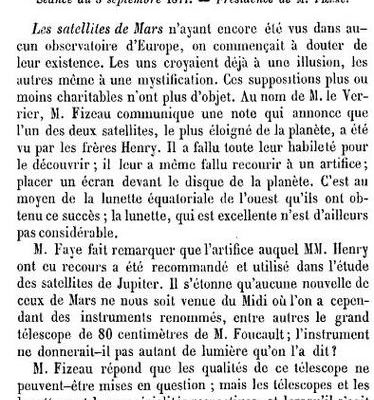 Le satellite de Mars (1877) Académie des sciences