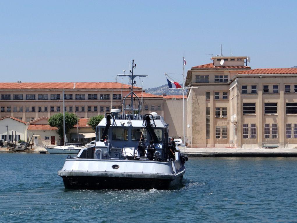 OTARIE , Y 771 , en mouvement en darse vieille , dans le port de Toulon le 27 juin 2018